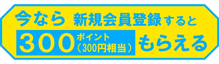 トクトク!夏の応援祭の期間中、新規会員登録で300ポイントもらえる!